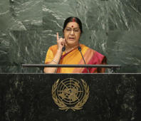 Swaraj tears into Sharif's doublespeak