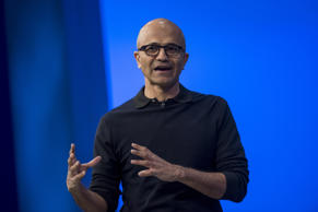 Satya Nadella, chief executive officer of Microsoft Corp., speaks during a keynote session at the Microsoft Developers Build Conference in San Francisco, California, U.S., on Wednesday, April 29, 2015.