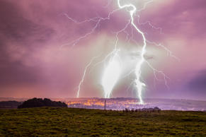 Seasonal weather, UK - 16 Sep 2016 Lightning over Alnwick in Northumberland in the early hours