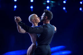 "In this Sept. 12, 2016 photo released by ABC, Amber Rose performs with Maksim Chmerkovskiy during a broadcast of the celebrity dance competition series, ""Dancing with the Stars,"" in Los Angeles."