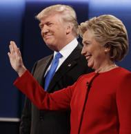 Republican presidential candidate Donald Trump, left, stands with Democratic pre...