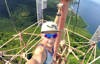 Parkour runner's radio tower climb