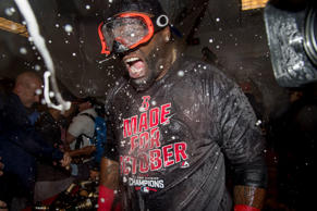 David Ortiz of the Boston Red Sox celebrates after the Red Sox clinched the American League East Division.