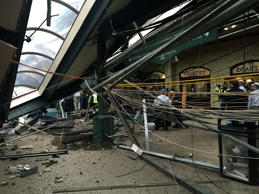 The roof collapse after a transit train crashed in to the platform at the Hoboken Terminal, Sept. 29, 2016 in Hoboken, N.J.
