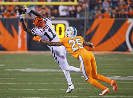 Cincinnati Bengals wide receiver Brandon LaFell (11) catches a pass against Miami Dolphins cornerback Xavien Howard (25) during the first half of an NFL football game, Thursday, Sept. 29, 2016, in Cincinnati.