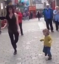 Little girl learns to Irish tap dance on the street