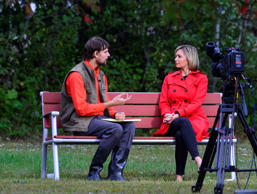 Nathan Carman, rescued from a life raft after a fishing trip, talks to an ABC news reporter in Brattleboro, Vt., Wednesday, Sept. 28, 2016. Carman, a 22-year-old man rescued from a life raft after a fishing trip that left his mother missing and presumed dead, had been a suspect in the still-unsolved 2013 slaying of his rich grandfather, adding to the multitude of questions swirling around him and what happened at sea.