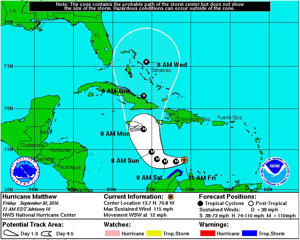 Projected path of Hurricane Matthew as of Friday, Sept. 30, 2016.