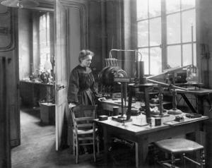 "1911 Nobel Prize in Chemistry ""in recognition of her services to the advancement of chemistry by the discovery of the elements radium and polonium, by the isolation of radium and the study of the nature and compounds of this remarkable element"". She became the first person to win two Nobel Prizes. During First World War, she constructed mobile X-ray machines for battlefield and conducted most of the x-ray work herself."
