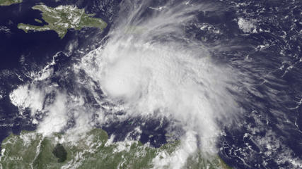The GOES East satellite image provided by the National Oceanic and Atmospheric Administration (NOAA) on Thursday, Sept. 29, 2016 at 2:45 p.m. EDT, shows Hurricane Matthew in the Caribbean Sea about 190 miles northeast of Curacao. Matthew, one of the most powerful Atlantic hurricanes in recent history, weakened a little on Saturday, Oct. 1, 2016, as it drenched coastal Colombia and roared across the Caribbean on a course that still puts Jamaica, Haiti and Cuba in the path of potentially devastating winds and rain.