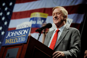 Libertarian vice presidential candidate Bill Weld speaks at a rally in New York,...