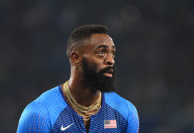 USA's Tyson Gay looks on after Team USA was disqualified in the Men's 4x100m Relay Final during the athletics event at the Rio 2016 Olympic Games at the Olympic Stadium in Rio de Janeiro on August 19, 2016. / AFP / OLIVIER MORIN (Photo credit should read OLIVIER MORIN/AFP/Getty Images)