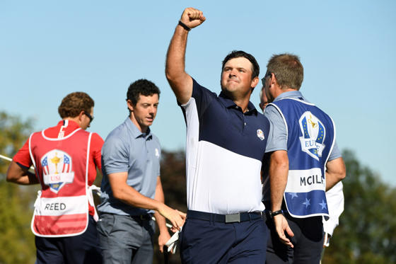 Oct 2, 2016; Chaska, MN, USA; Patrick Reed of the United States celebrates after winning his match against Rory McIlroy of Northern Ireland during the single matches in 41st Ryder Cup Hazeltine National Golf Club.