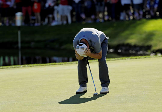 Europe's Andy Sullivan reacts after missing his putt on the 15th hole during a singles match at the Ryder Cup golf tournament Sunday, Oct. 2, 2016, at Hazeltine National Golf Club in Chaska, Minn.