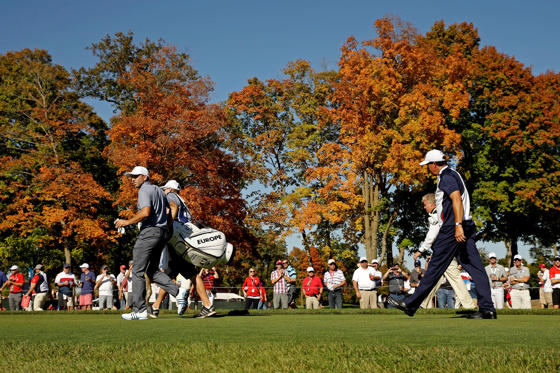 Oct 2, 2016; Chaska, MN, USA; Sergio Garcia of Spain and Phil Mickelson of the United States walk off the 16th tee during the single matches in 41st Ryder Cup at Hazeltine National Golf Club.