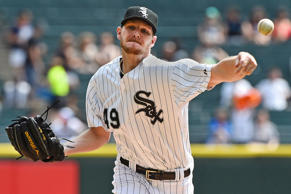 Chicago White Sox starting pitcher Chris Sale (49) throws a pitch against the De...