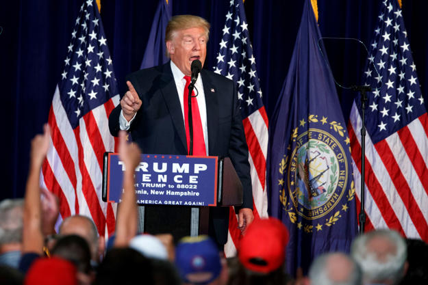 Republican presidential candidate Donald Trump speaks during a campaign rally at Laconia Middle School, Thursday, Sept. 15, 2016, in Laconia, N.H.