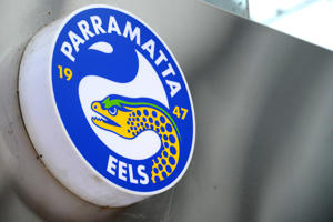 Parramatta Eels Rugby club signage is seen at the club's headquarter in Sydney.