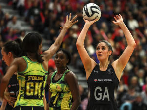 Ta Paea Selby-Rickit of New Zealand shoots during the International Test match between the New Zealand Silver Ferns and Jamaica.