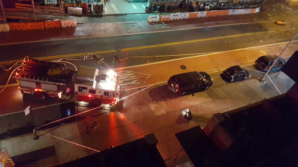 Fire rescue crews block off the street near the scene of an explosion in the Chelsea neighbourhood of New York, U.S. in this September 17, 2016 handout photo obtained via Twitter.