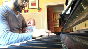 Sending a baby to sleep with piano cover of Coldplay's Fix You