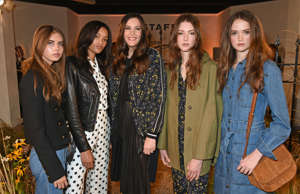 LONDON, ENGLAND - SEPTEMBER 18:  Liv Tyler (C) poses with models as she and Belstaff launch the Spring Summer 17 collection during London Fashion Week at Victoria House on September 18, 2016 in London, England.  (Photo by David M. Benett/Dave Benett/Gett