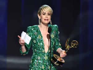 "Sarah Paulson accepts the award for outstanding lead actress in a limited series or a movie for ""The People v. O.J. Simpson: American Crime Story"" at the 68th Primetime Emmy Awards on Sunday, Sept. 18, 2016, at the Microsoft Theater in Los Angeles."