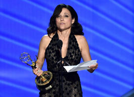 "Julia Louis-Dreyfus accepts the award for outstanding lead actress in a comedy series for ""Veep"" at the 68th Primetime Emmy Awards on Sunday, Sept. 18, 2016, at the Microsoft Theater in Los Angeles. (Photo by Vince Bucci/Invision for the Television Academy/AP Images)"