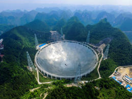 PINGTANG, CHINA - MAY 07: (CHINA OUT) Aerial view of the construction site of a Five-hundred-meter Aperture Spherical Telescope (FAST) on May 7, 2016 in Pingtang County, Guizhou Province of China. The dish-like telescope, as large as 30 football fields,