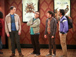 "In this image released by CBS, actors, from left, Jim Parsons, Johnny Galecki, Simon Helberg and Kunal Nayyar appear in a scene from the comedy ""The Big Bang Theory."" The hit CBS comedy claims TV's four best-paid actors, according to the annual list released Thursday, Sept. 22, 2016, by Forbes. Parsons led with a $25.5 million take between June 2015 and this June, Forbes said, followed by his cast-mates Galecki with $24 million, Helberg with $22.5 million and Nayyar with $22 million. (Michael Yarish/CBS via AP)"