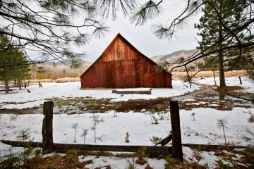 Winter scenes in Yosemite Valley located in the Yosemite National Park. Old barns in Yosemite park. (Photo by Ted Soqui/Corbis via Getty Images)