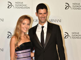 Tennis player Novak Djokovic and his wife Jelena arrive at the Charity Gala Dinn...
