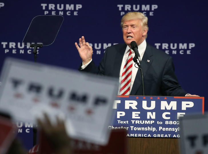ASTON, PA - SEPTEMBER 22: Republican presidential nominee Donald Trump speaks during a campaign rally at the Sun Center Studios September 22, 2016 in Aston, Pennsylvania.