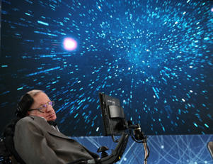 Professor Stephen Hawking onstage during the New Space Exploration Initiative 'Breakthrough Starshot' Announcement at One World Observatory on April 12, 2016, in New York City.