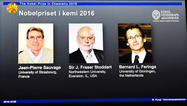 """<span style=""""color:#333333;font-size:13px;background-color:#ebebe4;"""">The winners of the 2016 Nobel Chemistry Prize (L-R) Jean-Pierre Sauvage, J Fraser Stoddart and Bernard L Feringa.</span>"""