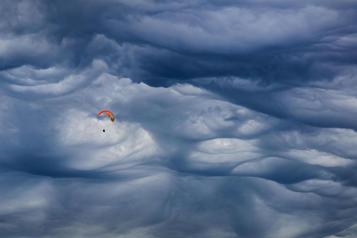 Mammatus cloud above the city of Chamonix. Mont Blanc, France