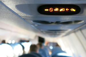 No smoking, fasten seatbelt sign is illuminated.