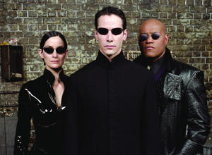 A still from the movie The Matrix Reloaded - 2003 Carrie-Anne Moss, Keanu Reeves and Laurence Fishburne