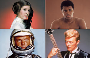 Carrie Fisher, Muhammed Ali, John Glenn, David Bowie