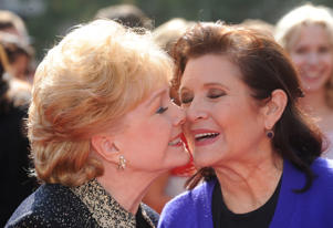 LOS ANGELES, CA - SEPTEMBER 10: (L-R) Debbie Reynolds and Carrie Fisher attends the Academy of Television Arts & Sciences 2011 Primetime Creative Arts Emmy Awards at the Nokia Theater L.A. Live on September 10, 2011 in Los Angeles, California.