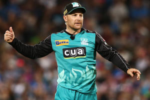 Brendon McCullum of the Brisbane Heat reacts during the Big Bash League match between the Adelaide Strikers and Brisbane Heat at Adelaide Oval on December 21, 2016 in Adelaide, Australia.