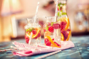 Infused Water with Fresh Raspberries, Lemon, Pomegranate and Mint