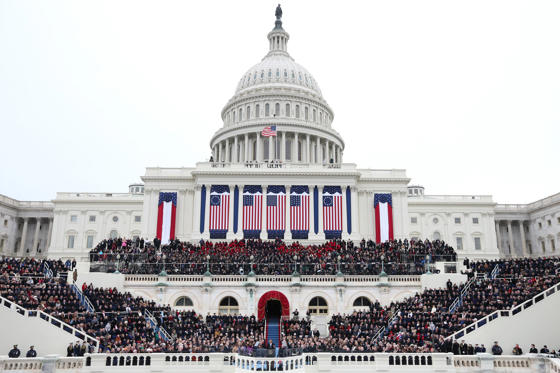Slide 1 of 13: WASHINGTON, DC - JANUARY 21: U.S. President Barack Obama gives his inauguration address during the public ceremonial inauguration on the West Front of the U.S. Capitol January 21, 2013 in Washington, DC. Barack Obama was re-elected for a second term as President of the United States. (Photo by Justin Sullivan/Getty Images)