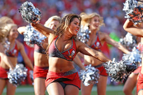 A Tampa Bay Buccaneers cheerleader in action during the NFL game between the Carolina Panthers and Tampa Bay Buccaneers on January 1, 2017, at Raymond James Stadium in Tampa, FL.