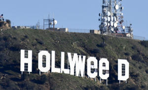 Hollywood sign vandalized to read 'Hollyweed', Los Angeles, USA - 01 Jan 2017.