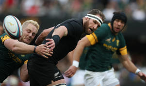 Vincent Koch of South Africa tackling Kieran Read during the The Rugby Championship match between South Africa and New Zealand at Growthpoint Kings Park on October 08, 2016 in Durban, South Africa.