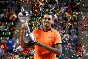 Nick Kyrgios after winning the men's singles final match against David Goffin of Belgium on day seven of Rakuten Open 2016.