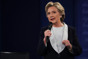Hillary Clinton  responds to a question during the town hall debate at Washington University.