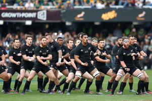 The New Zealand All Blacks perform the Haka during the Rugby Championship match between South Africa and New Zealand at Kingspark Rugby stadium in Durban on October 8, 2016.
