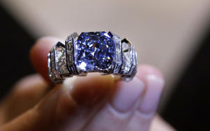 'The Sky Blue Diamond' ring at the auction house Sotheby's in London